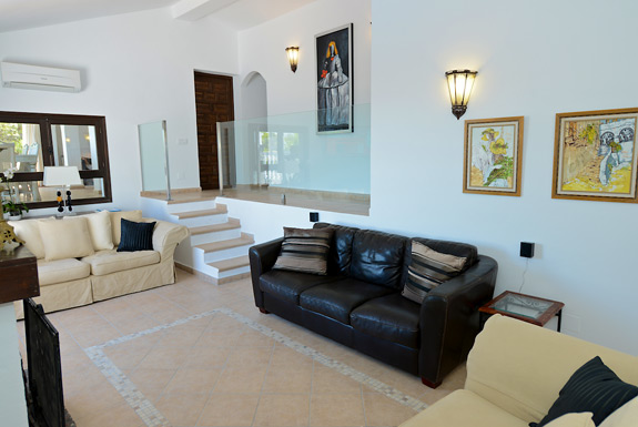 Modern, spacious lounge at Casa Adelante holiday villa for rent - Mijas, Spain