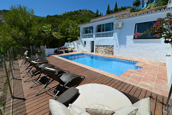 Pool area at Casa Adelante - Mijas holiday villa for rent