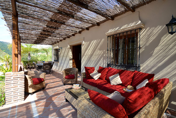 Chill with a book at Hacienda el Alamo holiday villa for rent, Alhaurin el Grande, Spain