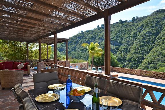 Al fresco dining on the terrace at holiday villa for rent Hacienda el Alamo, Spain