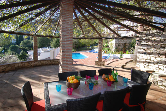 Shaded BBQ area at Alta Mira Holiday Villa in Mijas