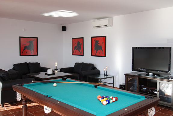 The games room at Alta Mira holiday villa in Mijas, Spain