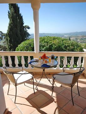 Views from the master bedroom private terrace at Villa Bancales, Mijas
