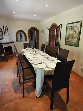 Dining room at Huerta Vieja is next to the kitchen