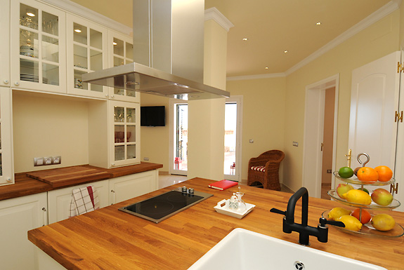 The modern kitchen at Casa la Noria holiday villa for rent, Mijas Pueblo, Spain