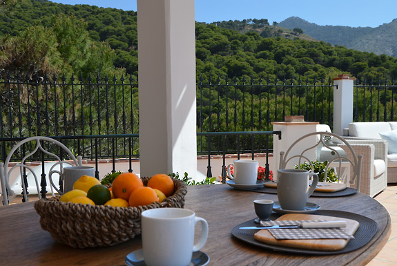 Breakfast on the upper terrace at casa la Noria holiday villa, Mijas Pueblo, Andalucia