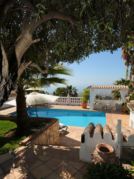 Shadt areas by the pool at Casa la Noria, Mijas, Andalucia