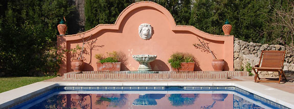 Fountain next to the pool at Casa las Rosas, Mijas, Spain