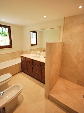 Modern bathrooms at Shangri La holiday villa in Mijas