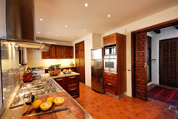 The kitchen at holiday villa Shangri La is fully equipped