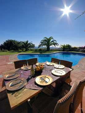 Dine by the pool at Shangri La holiday home, Mijas Pueblo, Spain