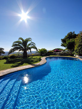 Great views from the pool at holiday villa Shangri La, Mijas Pueblo, Andalucia.